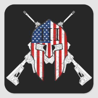 American Spartan III Percent Square Sticker