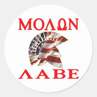 American Spartan Molon Labe Classic Round Sticker