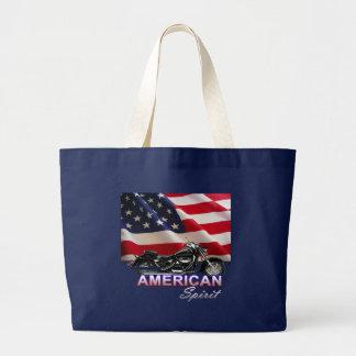 American Spirit TV Motorcycle Show Large Tote Bag