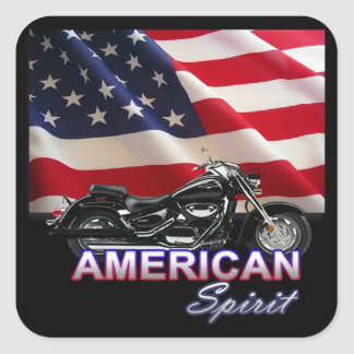 American Spirit TV Motorcycle Show Square Stickers