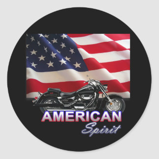 American Spirit TV Motorcycle Show Round Stickers