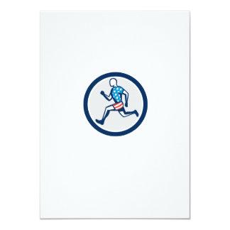 American Sprinter Runner Running Side View Retro 4.5x6.25 Paper Invitation Card