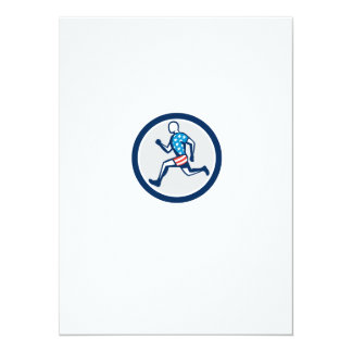 American Sprinter Runner Running Side View Retro 5.5x7.5 Paper Invitation Card