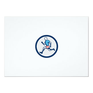 American Sprinter Runner Running Side View Retro 5x7 Paper Invitation Card