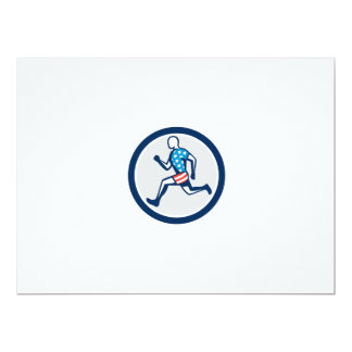 American Sprinter Runner Running Side View Retro 6.5x8.75 Paper Invitation Card