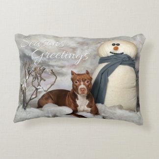 "American Staffordshire ""Seasons Greetings"" Pillow"