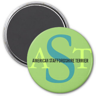 American Staffordshire Terrier 3 Inch Round Magnet