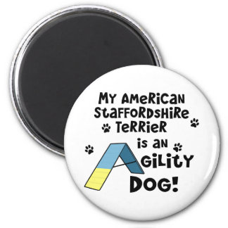American Staffordshire Terrier Agility Dog 2 Inch Round Magnet
