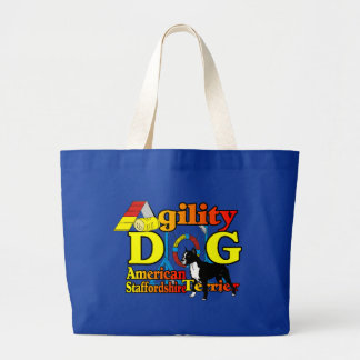 American_Staffordshire_Terrier_Agility Large Tote Bag