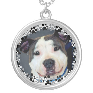 American Staffordshire Terrier-Am Staff Photo Silver Plated Necklace