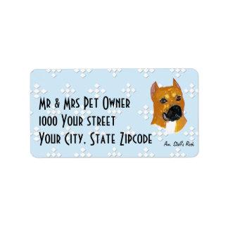 American Staffordshire Terrier ~ Blue w/White Diam Address Label