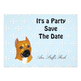 American Staffordshire Terrier Blue w White Diam Personalized Invitation