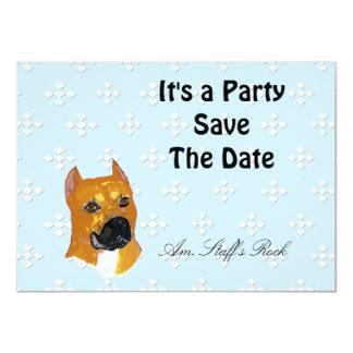 American Staffordshire Terrier ~ Blue w/White Diam Personalized Invitation