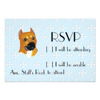 American Staffordshire Terrier Blue w White Diam Personalized Invite