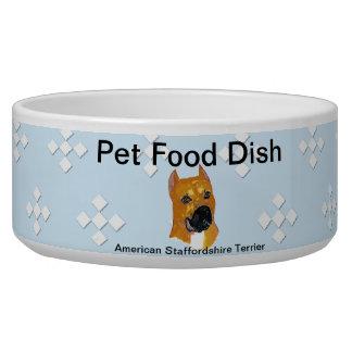 American Staffordshire Terrier ~ Blue w/White Diam Dog Bowl