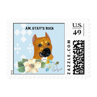 American Staffordshire Terrier ~ Blue w/White Diam Stamp