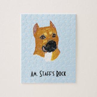 American Staffordshire Terrier ~ Blue w/White Diam Jigsaw Puzzle