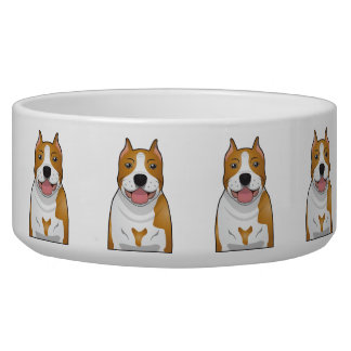 American Staffordshire Terrier Cartoon Dog Food Bowls