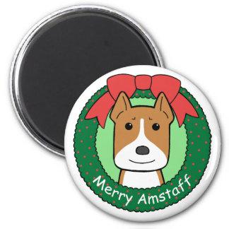 American Staffordshire Terrier Christmas Fridge Magnets