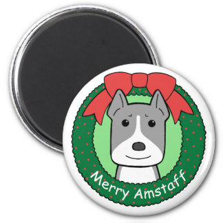 American Staffordshire Terrier Christmas Refrigerator Magnets