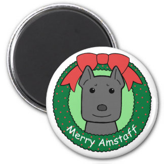 American Staffordshire Terrier Christmas Magnets