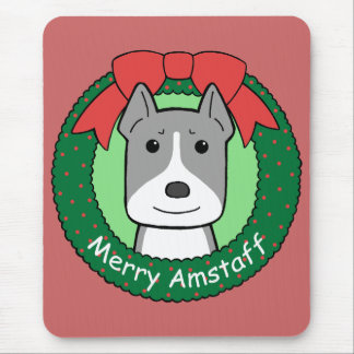 American Staffordshire Terrier Christmas Mouse Pad