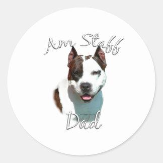 American Staffordshire Terrier Dad 2 Classic Round Sticker