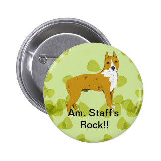 American Staffordshire Terrier ~ Green Leaves Pinback Button