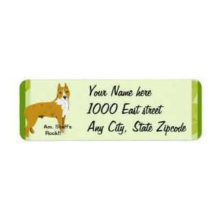 American Staffordshire Terrier ~ Green Leaves Return Address Label