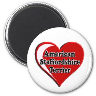 American Staffordshire Terrier Heart Fridge Magnets
