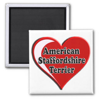 American Staffordshire Terrier Heart 2 Inch Square Magnet