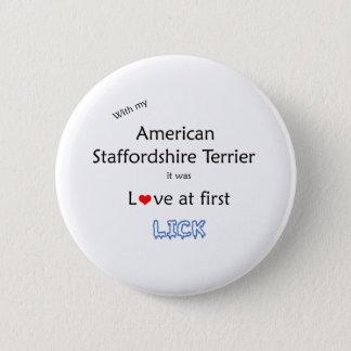 American Staffordshire Terrier Lick Design Pinback Button