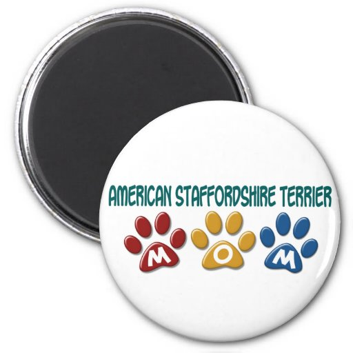 AMERICAN STAFFORDSHIRE TERRIER MOM Paw Print 2 Inch Round Magnet