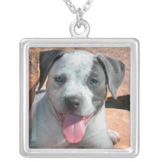 American Staffordshire Terrier puppy Portrait Square Pendant Necklace