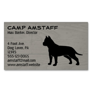 American Staffordshire Terrier Silhouette Magnetic Business Card