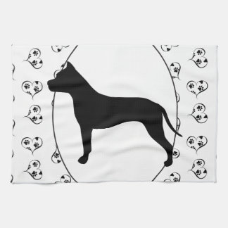American Staffordshire Terrier Silhouette Towels