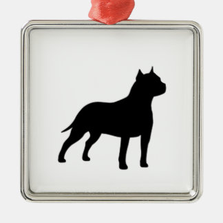 american staffordshire terrier square metal christmas ornament