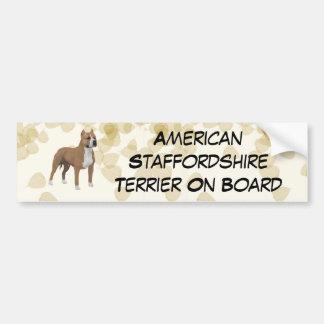 American Staffordshire Terrier ~ Tan Leaves Motiff Bumper Sticker