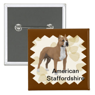 American Staffordshire Terrier ~ Tan Leaves Motiff Button
