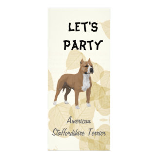 American Staffordshire Terrier ~ Tan Leaves Motiff Personalized Invitations