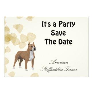 American Staffordshire Terrier ~ Tan Leaves Motiff Custom Announcements