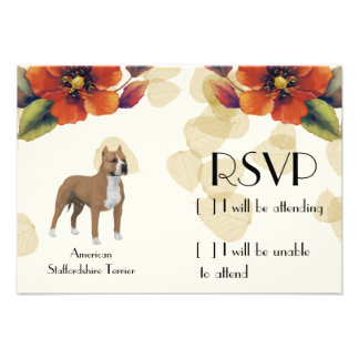 American Staffordshire Terrier ~ Tan Leaves Motiff Custom Invite