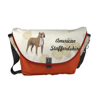 American Staffordshire Terrier ~ Tan Leaves Motiff Messenger Bag