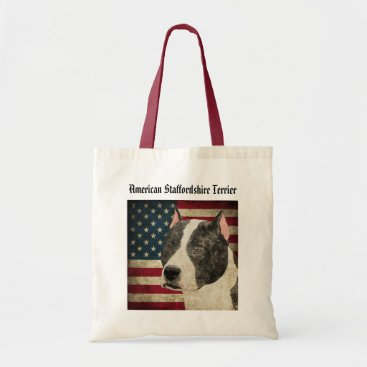 USA Themed American Staffordshire Terrier Tote Bag