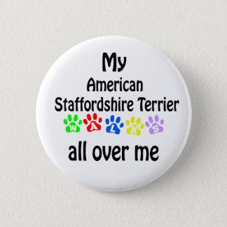 American Staffordshire Terrier Walks Design Pinback Button