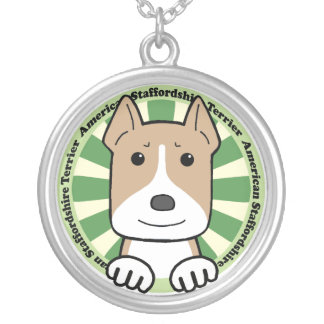 American Stafforshire Terrier Round Pendant Necklace