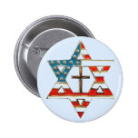 American Star of David With Cross 2 Inch Round Button