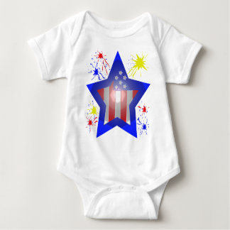 American star with fireworks baby bodysuit