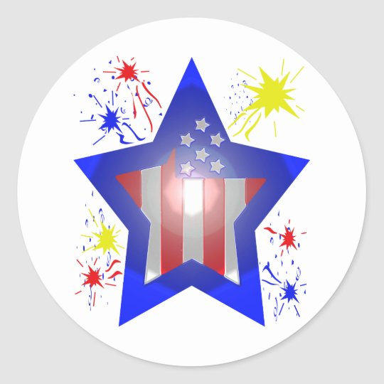 American star with fireworks classic round sticker
