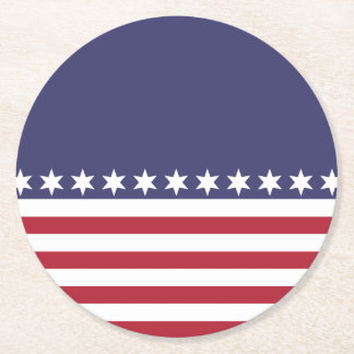 American Stars and Stripes Round Paper Coaster